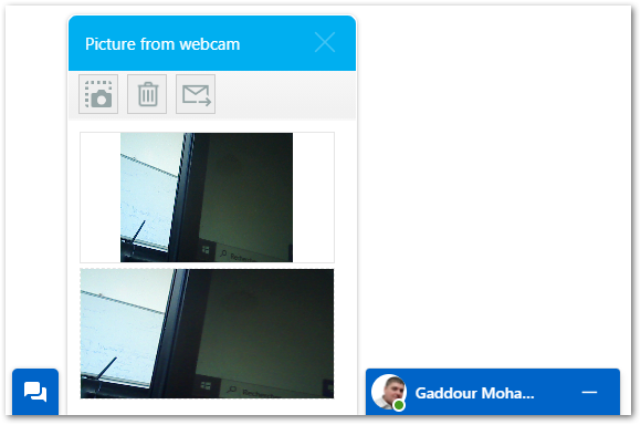 MQTT CHAT  capture live pictures from Webcam feature screen shot